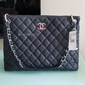 NWT Authentic Chanel Black Caviar Shopping Tote
